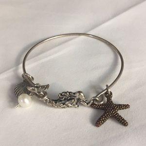 Mermaid bangle bracelet starfish pearl and shell